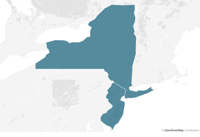 Map with New York and New Jersey highlighted